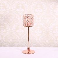 Rose Gold Crystal Candle Holder Table Centrepiece